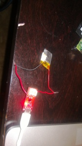Hacked together charging system for battery from charger.